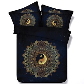 Mysterious Tai Chi Icon Print Two Pieces Pillow Case