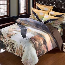 Unique 3D Eagle Printed Cotton 2-Piece Pillow Cases