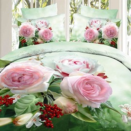 Beautiful Blooming Pink Rose Green Fitted Sheet