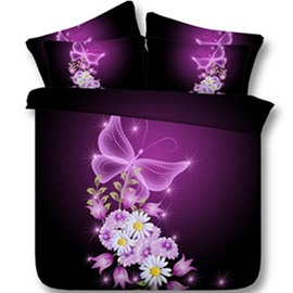Dreamy Purple Butterfly and Daisy Print 3D Fitted Sheet