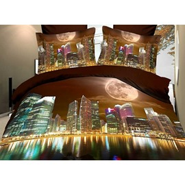 Charming Modern City Print Polyester 3D Fitted Sheet