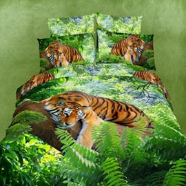 Amazing 3D Tiger Printed Green Cotton Fitted Sheet