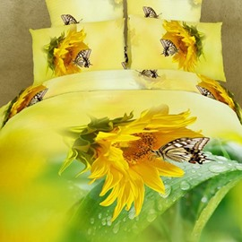 Bright Sunflower and Butterfly 3D Printed 2-Piece Pillow Cases