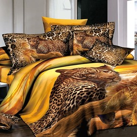 Powerful 3D Leopard Reactive Printing Cotton 2-Piece Pillow Cases