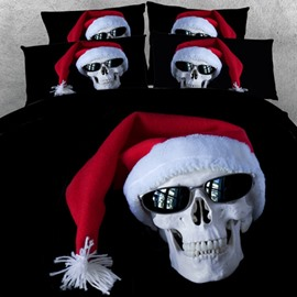 Unique Skull with Christmas Cap Print 2-Piece Pillow Cases