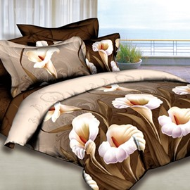 Retro Style Calla Lily Print Cotton Flat Sheet