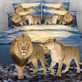 Lion Couple and Blue Ocean Print 2-Piece Pillow Cases