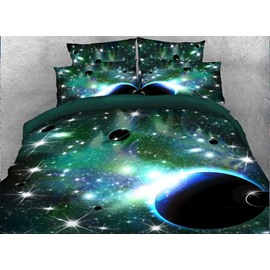 Onlwe 3D Galaxy and Celestial Body 4-Piece Green Bedding Sets/Duvet Covers