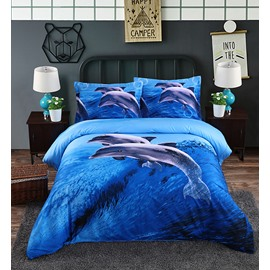 Twin Size 3D Dolphin Jumping Ocean Printed Cotton One Piece Blue Duvet Cover