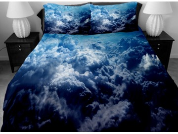 Dark Blue Surging Clouds Print 4-Piece Duvet Cover Sets