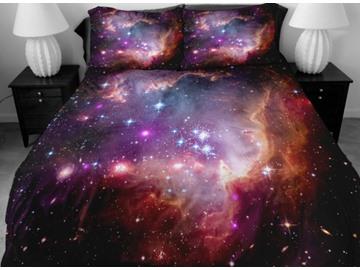 Gorgeous Shining Purple Star Print 4-Piece Duvet Cover Sets