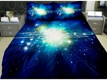 Dazzling Star with Dark Blue Background Print 4-Piece Duvet Cover Sets