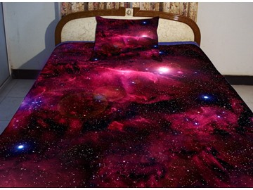 Amazing Bright Red Galaxy Print 4-Piece Duvet Cover Sets