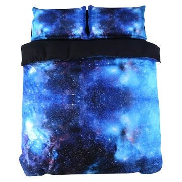 Blue Galaxy Realistic Style Printed 4-Piece 3D Bedding Sets/Duvet Covers