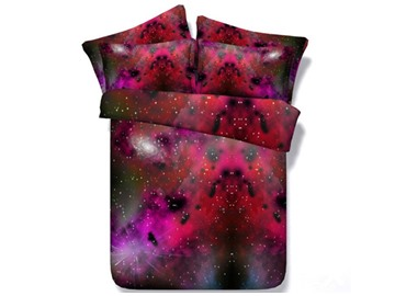 Rosy Galaxy Printed Cotton 3D 4-Piece Bedding Sets/Duvet Covers