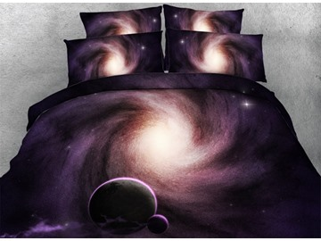Celestial Body and Galaxy Printed Cotton 3D 4-Piece Bedding Sets/Duvet Covers