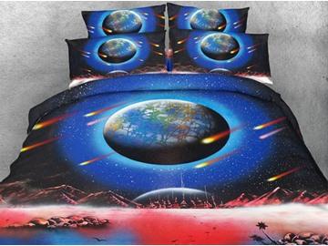 3D Earth and Meteor Shower Printed Cotton 4-Piece Bedding Sets/Duvet Covers