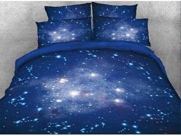 Galaxy and Constellation Printed Cotton 3D 4-Piece Blue Bedding Sets/Duvet Covers
