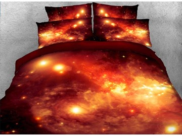 Onlwe Nebula and Galaxy Printed Cotton 4-Piece Crimson 3D Bedding Sets/Duvet Covers