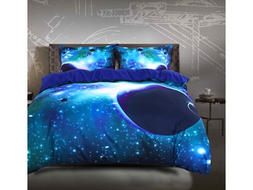 Galaxy and Celestial Body Printed 4-Piece 3D Green Bedding Sets Duvet Covers 2 Pillowcases Galaxy Bedding