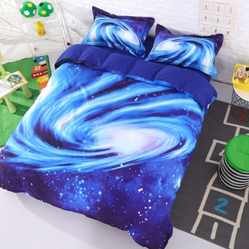 Onlwe 3D Spiral Galaxy Universe Printed Cotton 4-Piece Blue Bedding Sets/Duvet Covers