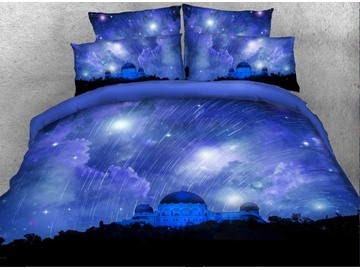 Onlwe 3D Castle and Meteor Shower Printed Cotton 4-Piece Bedding Sets/Duvet Covers