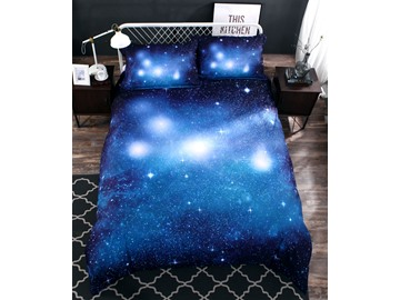 Onlwe 3D Gradient Starry Galaxy Printed Cotton 4-Piece Bedding Sets/Duvet Covers