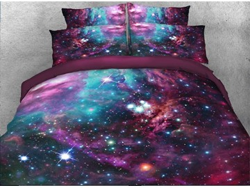 3D Starry Galaxy Polyester 4Pcs Bedding Sets Duvet Cover Set with Zipper Ties