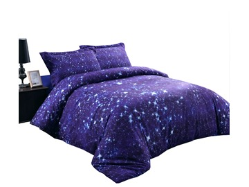3D Twinkling Stars and Galaxy Printed Cotton 4-Piece Purple Bedding Sets/Duvet Covers