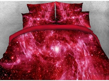 Vivilinen Outer Space and Galaxy Printed 4-Piece 3D Red Bedding Sets/Duvet Covers