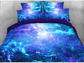 Space Galaxy 4Pcs 3D Polyester Blue Bedding Sets Duvet Cover with Zipper Closure