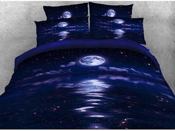Galaxy and the Moon Printed Cotton 3D 4-Piece Bedding Sets/Duvet Covers