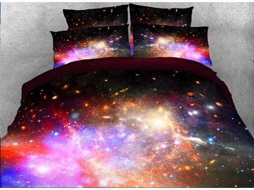 Onlwe 3D Multicolored Galaxy and Star Cluster Printed 4-Piece Bedding Sets/Duvet Covers