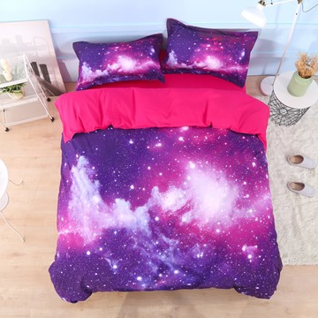 Galaxy Cluster Printed Cotton 4-Piece 3D Purple Bedding Sets/Duvet Covers