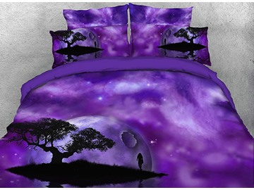 Purple Galaxy and Tree Silhouette Printed 4-Piece 3D Bedding Sets/Duvet Covers