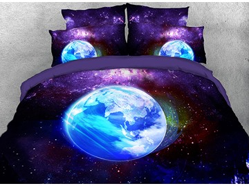 Onlwe 3D Purple Galaxy Earth Modern Style Cotton 4-Piece Bedding Sets/Duvet Covers