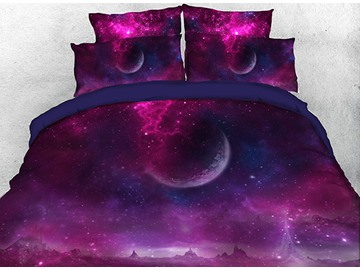 Onlwe 3D Purple Galaxy with Outer Space Planet 4-Piece Bedding Sets/Duvet Covers