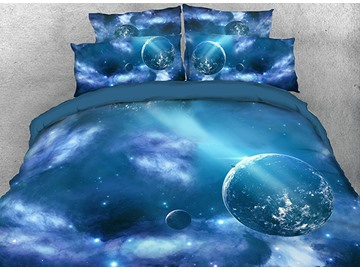 Onlwe 3D Galaxy Outer Space Blue Planets Printed 4-Piece Bedding Sets/Duvet Covers