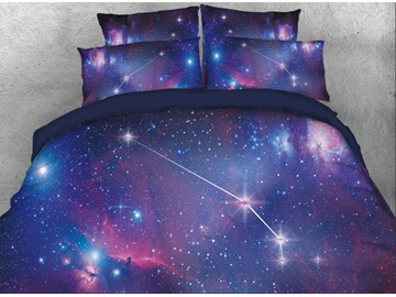 Onlwe 3D Galaxy Aries Printed 4-Piece Bedding Sets/Duvet Covers