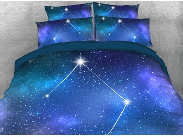 Libra Duvet Cover 3D Galaxy Printed 4-Piece Blue Bedding Set with Non-slip Ties