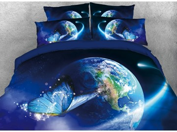 Vivilinen Blue Butterfly Fancy Earth Printed 4-Piece 3D Bedding Sets/Duvet Covers