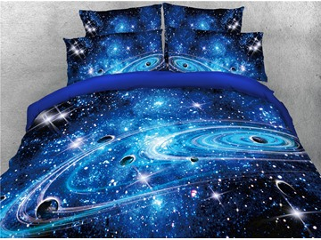Onlwe 3D Universe Planet Galaxy Printed 4-Piece Bedding Sets/Duvet Covers