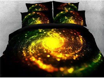 3D Golden Spiral Dreamy Galaxy Printing 4-Piece Bedding Sets/Duvet Covers