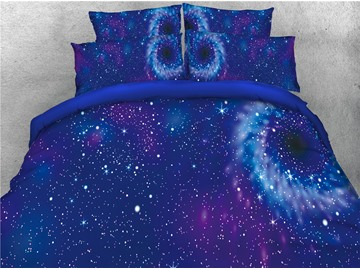 3D Blue Star Galaxy Printing 4-Piece Bedding Sets/Duvet Covers