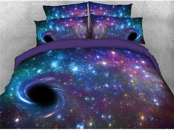 3D Purple Starry Galaxy Spiral Outer Space 4Pcs Zipper Tencel Cotton Bedding Sets Warm Duvet Cover with Flat Sheet and 2 Pillowcases