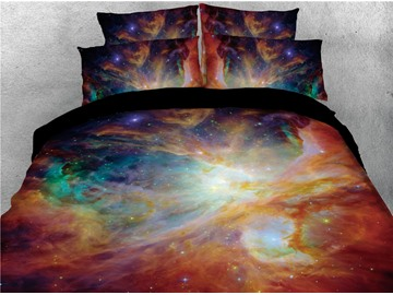 Multi Color Nebula and Stars Galaxy Printing Polyester 3D 4-Piece Bedding Sets/Duvet Covers