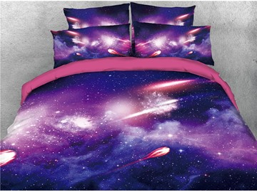 Purple and Blue Starry Galaxy Printing 3D 4-Piece Bedding Sets/Duvet Covers