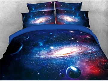 Spiral Galaxy and Celestial Body Blue Printed 3D 4-Piece Bedding Sets/Duvet Covers