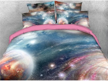 Planet and Blinking Star Galaxy Printing Cotton 3D 4-Piece Bedding Sets/Duvet Covers