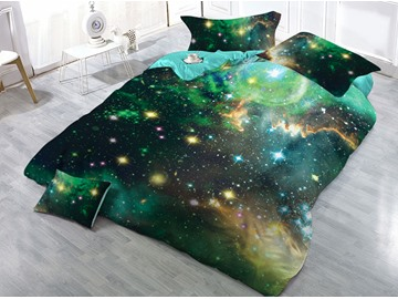 Mysterious Galaxy Blink Stars Green Printed 3D 4-Piece Bedding Sets/Duvet Covers